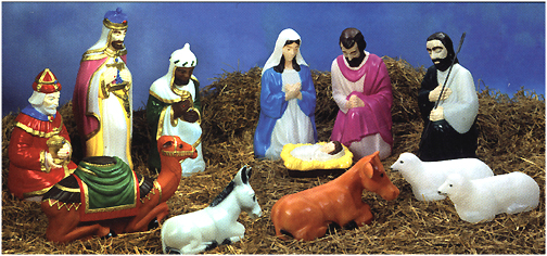 outdoor lighted nativity set scene scenes general foam plastics corporation christmas holiday decorations