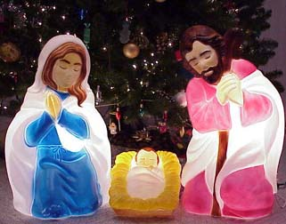 outdoor lighted nativity set scene scenes general foam plastics corporation corp christmas holiday decorations